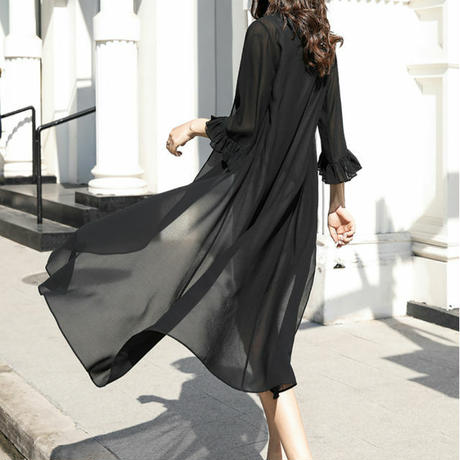 レディース サマーカーディガン シンプル無地 ワンピース風 5分袖 ロング丈 韓国ファッション (DCT-591350749991)