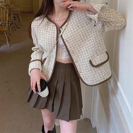 チェック柄 ショートジャケット ノーカラー 襟なし シングルブレスト 長袖 ルーズ 韓国ファッション レディース 大人可愛い ガーリー DTC-654861229255