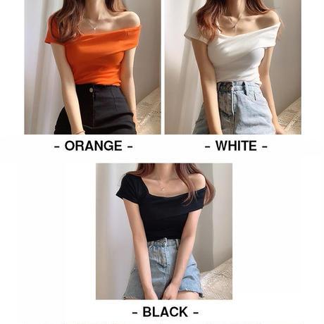 ワンショルダー トップス 不規則デザイン 半袖 韓国ファッション レディース Tシャツ 大人可愛い ガーリー フェミニン DTC-641886251782