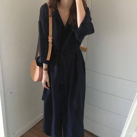 レディース 2WAY シャツワンピース コート 薄手 ロングシャツ ワンピース フェミニン 韓国ファッション (DCT-572739058895)