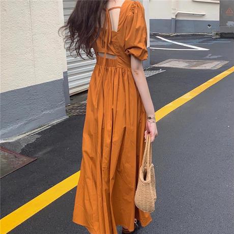 オープンバック ワンピース スクエアネック フレア ロング丈 背中開き 背中見せ ハイウエスト パフ袖 韓国ファッション レディース セクシー 大人可愛い ガーリー DTC-642366216838