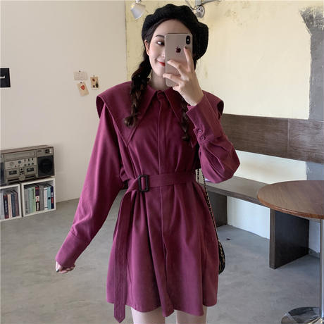 ブラウス シャツ 大きい襟 ベルト 長袖 韓国ファッション レディース ワンピース トップス ゆったり カットソー 大人可愛い ガーリー DTC-625594554550