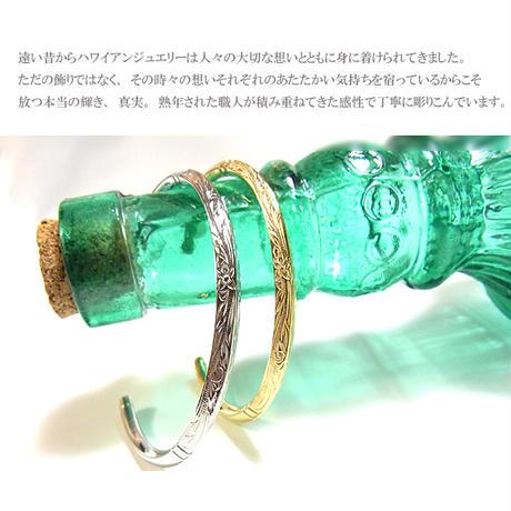 ハワイアンジュエリー バングル メンズ レディース ブレスレット スクロール プリメリア カレイキニ サージカル ステンレス 金属アレルギー対応 シルバー ゴールド (gbg859)