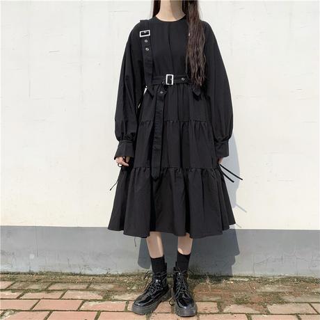 サスペンダーストラップ付き ワンピース リボンスリーブ 韓国ファッション レディース ラウンドネック ハイウエスト 長袖 ガーリー DTC-624431936334