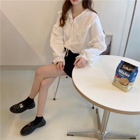 ブラウス リボン フリル パフ袖 Vネック 長袖 韓国ファッション レディース 大人可愛い ガーリー フェミニン DTC-640526555584