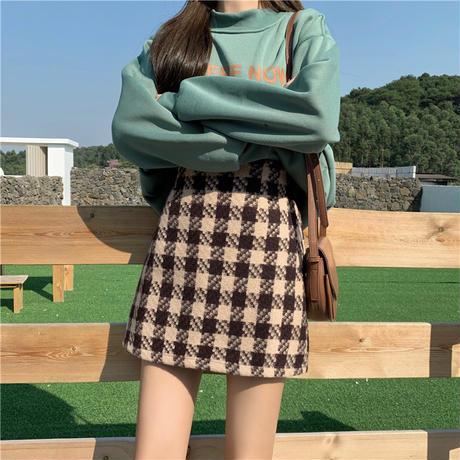 チェック柄 ウール混 タイトミニスカート 韓国ファッション レディース ミニスカート ハイウエスト 大人可愛い ガーリー DTC-630293926918