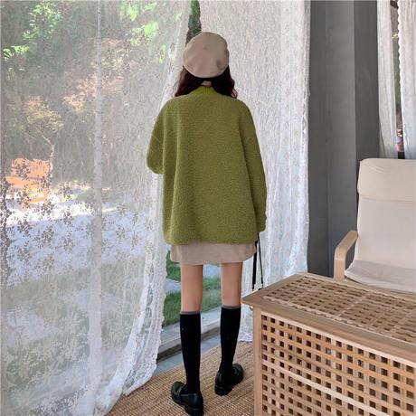 もこもこカーディガン ボア 韓国ファッション レディース カーディガン アウター 暖かい フェイクムートン ドロップショルダー ボアジャケット 大きいポケット (DCT-604923682357)