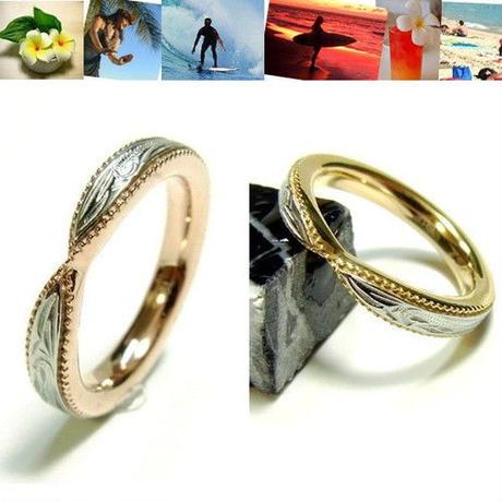 【ハワイアンジュエリー / HawaiianJewelry】 ステンレスリング/指輪 イエローゴールド ピンクゴールド マリッジ 結婚指輪 (grs8558)