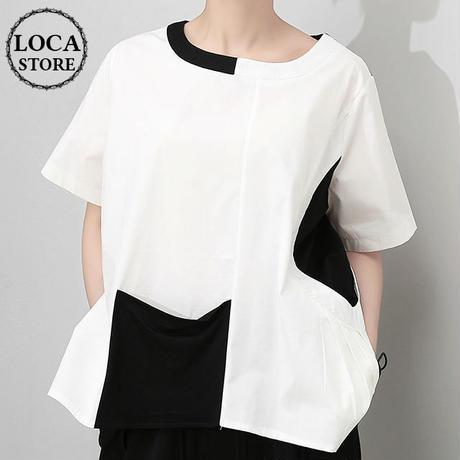 レディース モノトーン デザインカットソー ゆったりシルエット 半袖 韓国ファッション (DCT-595937129583)