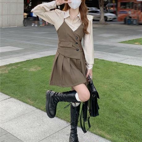 セットアップ フリルブラウス シャツ スリングワンピース キャミワンピース フロントボタン プリーツ ハイウエスト 韓国ファッション 大人可愛い ガーリー DTC-657670891971