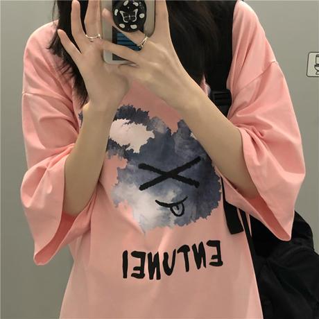 Tシャツ 半袖 ラウンドネック プリント ドロップショルダー 大きめ オーバーサイズ 韓国ファッション レディース カジュアル ストリートファッション DTC-644950773167
