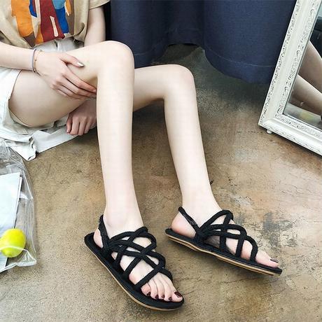 ロープサンダル 編み上げサンダル フラットサンダル ストラップ 韓国ファッション レディース ぺたんこ サンダル キュート 痛くない かわいい 靴 歩きやすい 588924814607