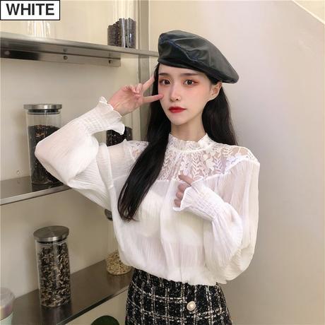 シフォンブラウス レース 長袖 韓国ファッション レディース ブラウス スタンドアップ 大人可愛い ガーリー DTC-627336602739