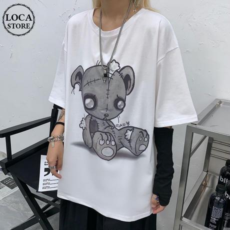 レディース タッチベアー Tシャツ 可愛いクマプリント ゆったり 半袖 インスタ映え ストリート 韓国ファッション (DCT-597818166705_a)