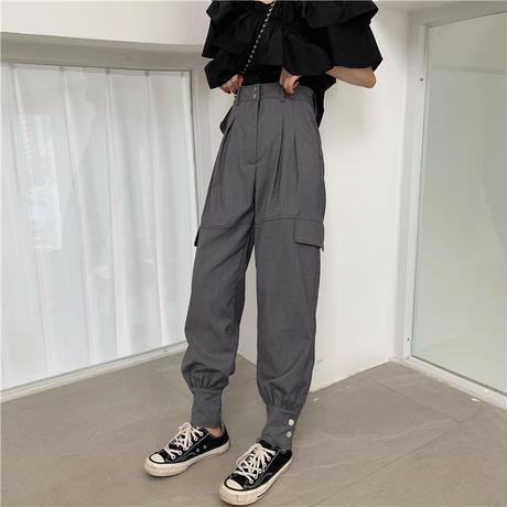 セットアップ 2WAYブラウス + 裾ボタンタックパンツ 韓国ファッション レディース オフショルダー Vネック フリル ハイウエスト大人可愛い ガーリー DTC-619802105650_s