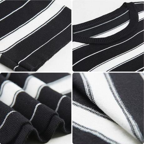 ボーダー ニットワンピース 薄い 長袖 韓国ファッション レディース ワンピース ニット ストライプ ラウンドネック ゆったり 大人可愛い ガーリー DTC-602299842290