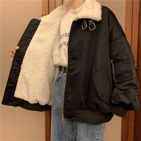 ボアカラーブルゾン MA-1 ネックベルト オーバーサイズ ラムウール 韓国ファッション レディース ジャケット ブルゾン アウター 防寒 ボア カジュアル DTC-628885333328