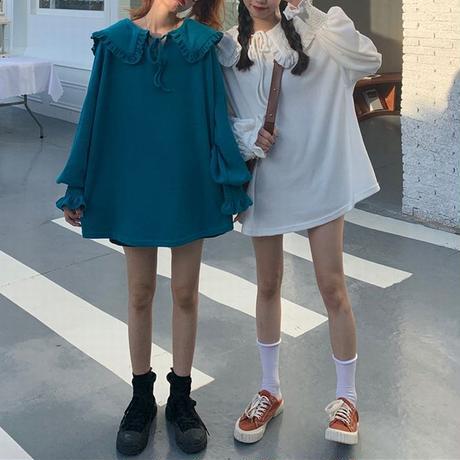 大きい襟 トップス トレーナー ブラウス 長袖 ルーズ レトロ 韓国ファッション レディース 大人可愛い ガーリー フェミニン DTC-654704055754
