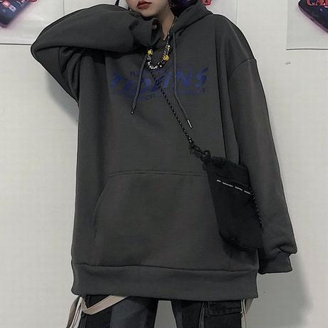 ユニセックス パーカー プルオーバー プラスベルベット ブラック ダークグレー 長袖 オーバーサイズ ゆったり カジュアル ストリートファッション DTC-606297076811