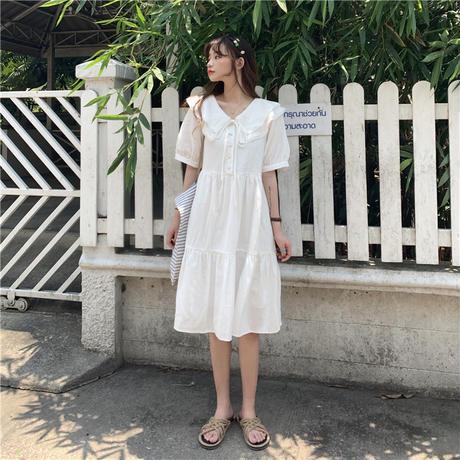 レディース 襟付き ラッフルワンピース フレア ハイウエスト リネン ガーリー 韓国ファッション オルチャン (DCT-594811902493)