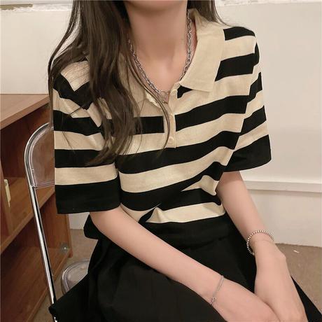クロップド丈 ポロシャツ ボーダー 半袖 薄手 ニット 韓国ファッション レディース トップス ストライプ ショート丈 大人可愛い ガーリー フェミニン DTC-642152244082