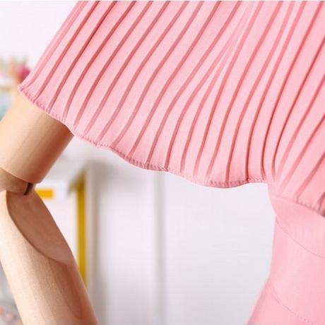 レディース フリルオフショルダーワンピース プリーツフリルワンピース バックシャン 春コーデ 夏コーデ 韓国ファッション (DCT-594465081799)