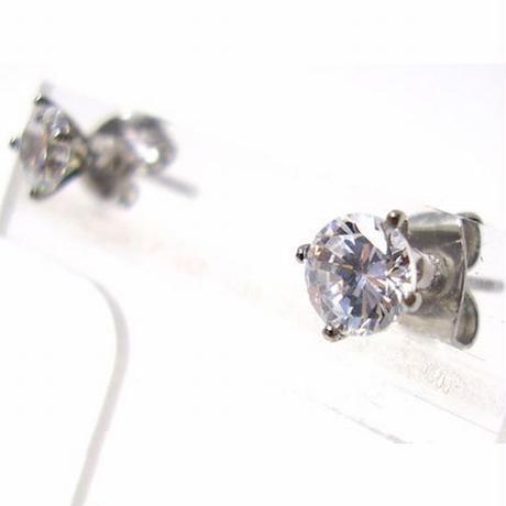 【ステンレスアクセサリー】幅0.2cm 1粒 CZ ダイヤモンド ピアス ステンレス 金属アレルギー対応 esj801