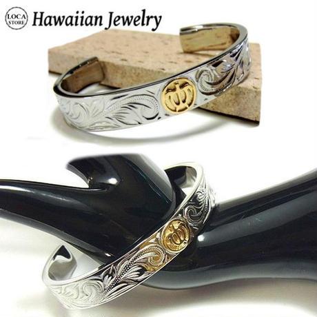 【ハワイアンジュエリー / HawaiianJewelry】 ブレスレット/バングル K18 ゴールド ホヌ(亀) スクロール (gbg874)