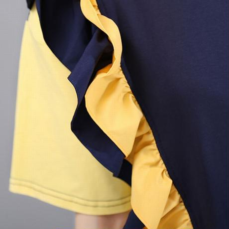 フリル ワンピース 半袖 韓国ファッション レディース ゆったりウエスト 大人カジュアル 大人可愛い 621728976413