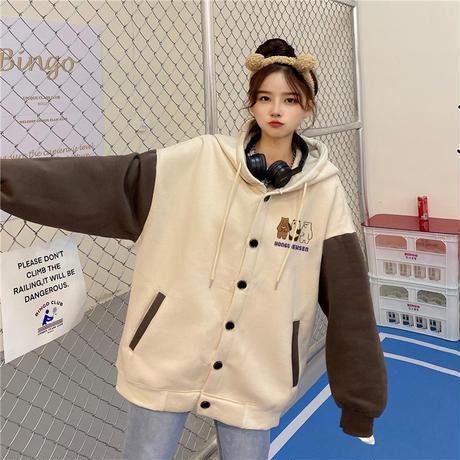 フード付き ブルゾン パーカー 月輪熊 パンダ 白熊 プラスベルベット アウター オーバーサイズ 韓国ファッション レディース ガーリー カジュアル ストリート系 DTC-630016028692
