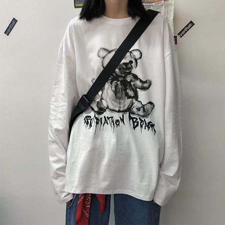 Tシャツ 長袖 ユニセックス メンズ レディース シンプル ダークベアー ダーククマちゃん ロンT オーバーサイズ 大きいサイズ ストリート TBN-605083785949