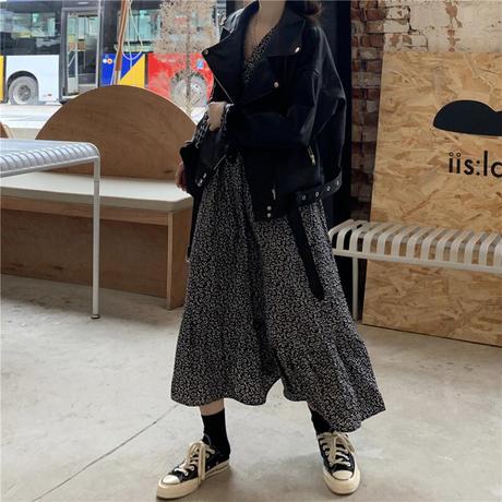 花柄 ワンピース Vネック フェミニン ロング丈 韓国ファッション レディース ハイウエスト 長袖 ゆったり 大人可愛い ガーリー DTC-627700734478