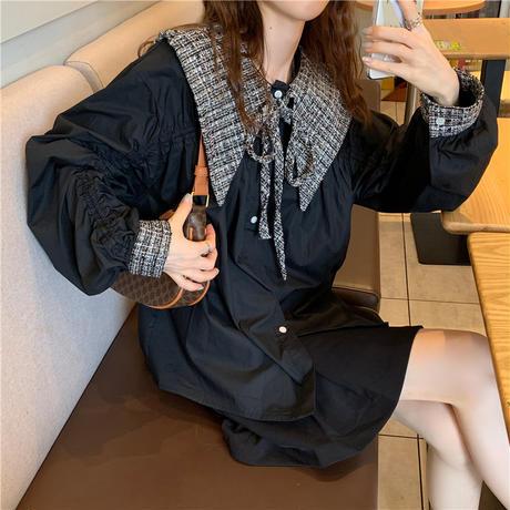 チェック襟付 ブラウス フリル リボン 長袖 韓国ファッション レディース 大きい襟 シャツ トップス チュニック ゆったり 大人可愛い ガーリー DTC-625301408424