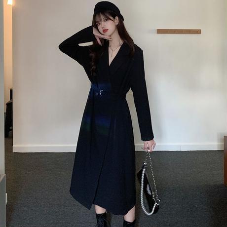 トレンチ風 ワンピース ウエストベルト 韓国ファッション レディース ダブルブレスト 長袖 ハイウエスト ゆったり 大人可愛い ガーリー DTC-627886169190