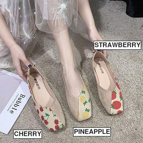 パンプス フルーツ柄 フラットシューズ ぺたんこ 韓国ファッション レディース シンプル フラットパンプス シューズ いちご柄 パイナップル柄 チェリー柄 かわいい 610995457990