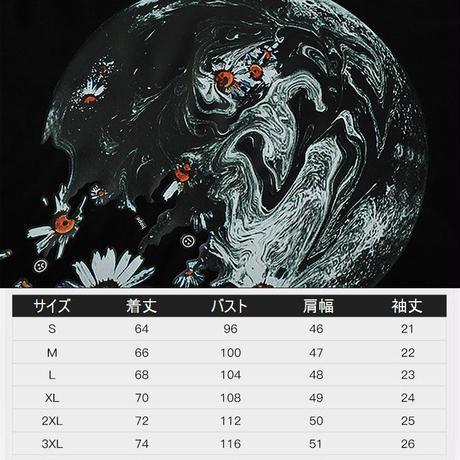 ユニセックス Tシャツ 半袖 ラウンドネック デイジープリント オーバーサイズ 韓国ファッション メンズ レディース 大きいサイズ ストリートファッション DTC-619619211600