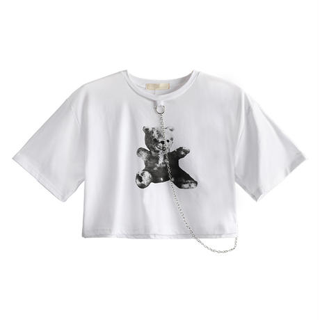 クロップTシャツ 半袖 くまちゃんプリント チェーン ラウンドネック 韓国ファッション レディース Tシャツ ショート丈 カジュアル ストリートファッション DTC-614820219090