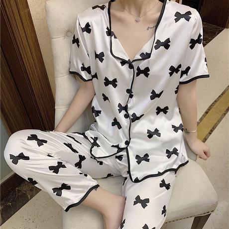 ルームウェア セットアップ リボン柄 アイスシルク ウエストゴム 韓国ファッション レディース パジャマ 上下セット 部屋着 大人可愛い ガーリー フェミニン DTC-645023297888