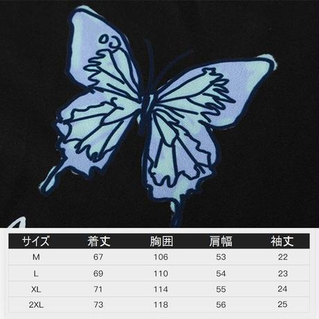ユニセックス バタフライ柄 シャツ 柄シャツ 蝶々 半袖 オーバーサイズ メンズ レディース トップス 大きめ ルーズ カジュアル ストリート ファッション DTC-617906441343