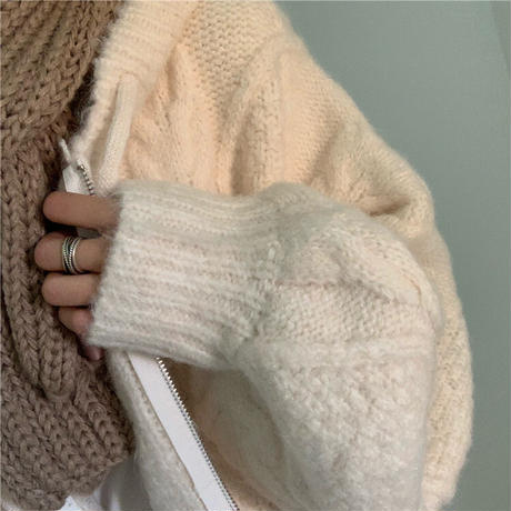 フード付ニットカーディガン ケーブル編み ボリューム袖 ニット カーディガン 長袖 オーバーサイズ 韓国ファッション レディース レトロ 大人可愛い ガーリー DTC-655601005225