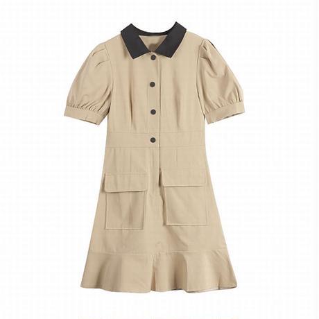 襟付き ワンピース ポケット付き パフ袖 薄手 ハイウエスト ショート丈 半袖 シングルブレスト 韓国ファッション レディース 大人可愛い ガーリー DTC-623654667428