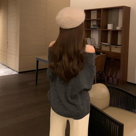 ドッキング ニット セーター ハイネック オープンショルダー 韓国ファッション レディース フェイクレイヤード 肩あき ルーズ ゆったり 大人可愛い ガーリー DTC-630951104613