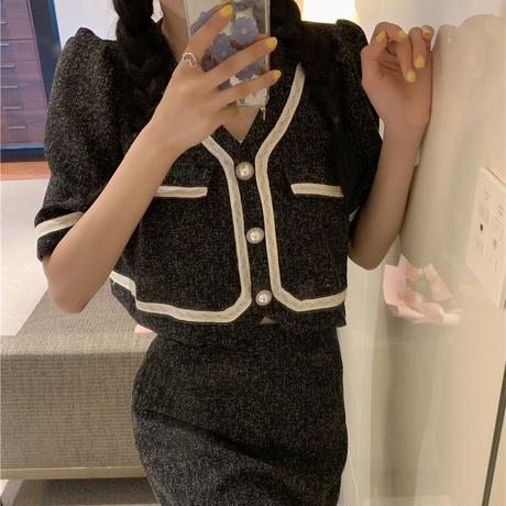 セットアップ ジャケット + スカート 半袖 クロップド丈 韓国ファッション レディース 2点セット ミニスカート ハイウエスト 大人可愛い ガーリー DTC-646462258426