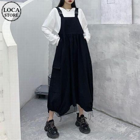 サロペットスカート ジャンパースカート ハイウエスト ジャンスカ 韓国ファッション レディース ワンピース カジュアル ガーリー DTC-640216682663