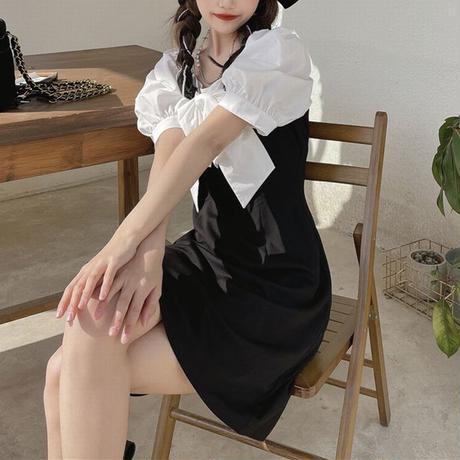 大きなリボン ワンピース 半袖 スクエアネック ハイウエスト パフ袖 韓国ファッション レディース 大人可愛い ガーリー フェミニン DTC-646984041517