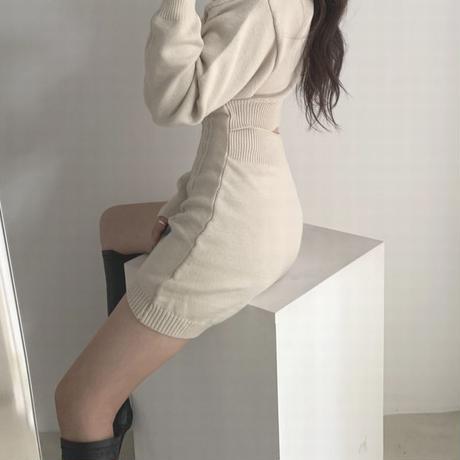 ニットグワンピース 背中開き 背中見せ ツイスト編み ハイウエスト 韓国ファッション レディース ニット ワンピース 無地 大人可愛い ガーリー DTC-629490442432