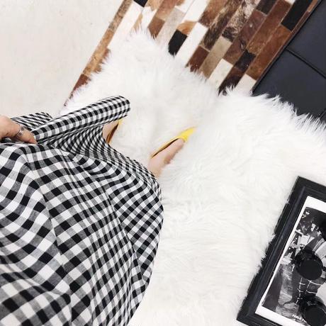 ギンガムチェック ワンピース バックVネック ギャザー 韓国ファッション レディース 絞り パフ袖 ゆったりウエスト 体型カバー ガーリー DTC-618462445967