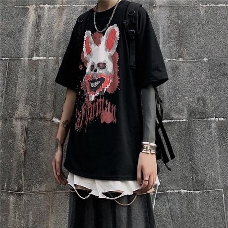 Tシャツ 半袖 メンズ レディース ユニセックス ラウンドネック ダーク系 血まみれウサギ プリント オーバーサイズ 大きいサイズ ルーズ ストリート TBN-614838752783