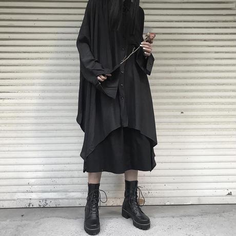 アシンメトリー ロングシャツ 長袖 ルーズ 韓国ファッション レディース シャツワンピース シャツ アシメ 不規則デザイン 暗黒系 ドルマンシャツ ガーリー DTC-601048675644