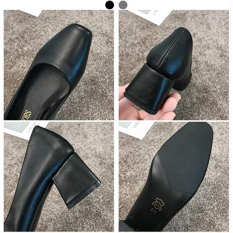 スエードタイプとPUタイプの2種類! パンプス チャンキーヒール 4.5cm 韓国ファッション レディース スクエアトゥ シューズ キュート 痛くない かわいい 歩きやすい 598354617919